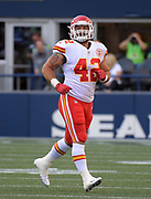 Aug 25, 2017; Seattle, WA, USA; Kansas City Chiefs fullback Anthony Sherman (42) during a NFL football game against the Seattle Seahawks at CenturyLink Field. The Seahawks defeated the Chiefs 26-13.