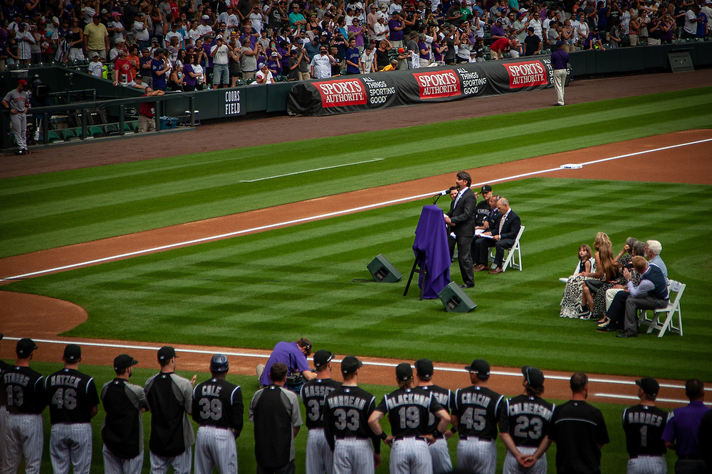 Colorado Rockies first baseman TODD HELTON has his #17 retired during a ceremony at Coors Field.