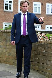 Senior investigating officer Detective Chief Inspector Noel McHugh stands at the entrance to an alley thought to have been the possible route used by the person suspected of shooting Abraham Badru. Abraham Badru, a personal trainer, 26, was shot in the chest on 25th March in Ferncliff Road, E8. He received a National Police Bravery Award after intervening in a rape and giving evidence in court. London, April 25 2018.