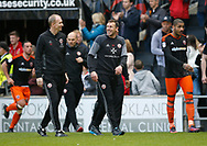 Alan Knill and Darren Ward of Sheffield Utd during the English League One match at  Stadium MK, Milton Keynes. Picture date: April 22nd 2017. Pic credit should read: Simon Bellis/Sportimage