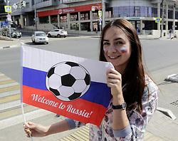 June 14, 2018 - Samara, Russia - June 14, 2018. - Russia, Samara. - Fans at the Samara Arena, a venue for the 2018 FIFA World Cup matches. (Credit Image: © Russian Look via ZUMA Wire)