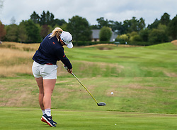 Gleneagles, Scotland, UK; 8 August, 2018.  European Championships 2018. Day one of golf competition at Gleneagles..Men's and Women's Team Championships Round Robin Group Stage - 1st Round. Four Ball Match Play format. Match 13 Great Britain 2 v Sweden 1 Ladies. Catriona Matthew and Holly Clyburn won 3 and 2. Holly Clyburn ees off on the 14th hole