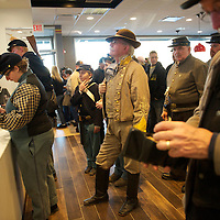 Soldiers wait in line at McDonald's following a Remembrance Day Parade in Gettysburg, PA, celebrating the 149th anniversary of the Gettysburg Address, on November 17, 2012.