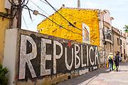 Catalonia Independence - Republica mural calling for a Catalan Republic, Sant Cugat del Valles, Catalonia.