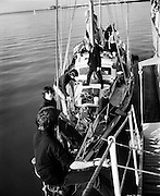 The sail training vessel 'Creidne' leaves Dun Laoghaire harbour to take part in transatlantic races organised to coincide with the American Bicentennial celebrations. <br /> 15/04/1976