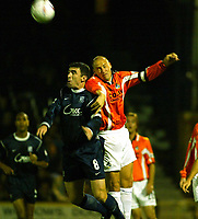 Photo. Chris Ratcliffe<br />Southend v Bristol Rovers. LDV Vans Southern Section. 14/10/2003<br />Adam Barrett and kevin Maher of Southend go up for the ball
