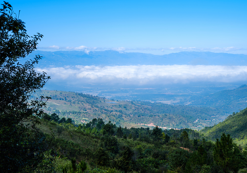 KYAING TONG, MYANMAR - CIRCA DECEMBER 2017:  Landscape view from a hiking trail around villages in the area of Kyaing Tong in Myanmar.