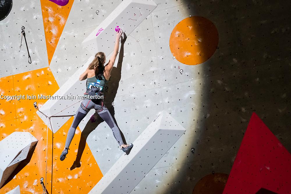 Jana Garnbret of Slovenia winner of Lead Women during the final at the International Federation of Sport Climbing (IFSC) World Cup 2017 at Edinburgh International Climbing Arena, Scotland, United Kingdom.