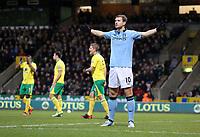 Football - 2012 / 2013 Premier League - Norwich vs. Manchester City<br /> <br /> Edin Dzeko celebrates scoring the second goal at Carrow Road, Norwich