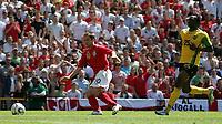 Photo: Paul Thomas.<br /> England v Jamaica. International Friendly. 03/06/2006.<br /> <br /> Michael Owen of England scores.