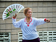 05 JUNE 2017 - BANGKOK, THAILAND: A woman participates in a tai-chi class for older adults in Lumpini Park in Bangkok. Thai health officials estimate that about 17% of Thais are 60 years old and older, putting Thailand right on the cusp of being an aging society. Many public health centers and government offices in Thailand offer free exercise classes for Thai seniors in an effort to keep older Thais healthy and mobile.      PHOTO BY JACK KURTZ