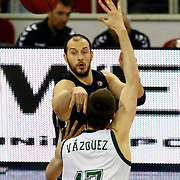 Anadolu Efes's Ermal Kurtoglu (B) during their Euroleague Top 16 game13 basketball match Anadolu Efes between Unicaja Malaga at the Abdi Ipekci Arena in Istanbul at Turkey on Thursday, March, 28, 2013. Photo by Aykut AKICI/TURKPIX