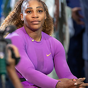 2019 US Open Tennis Tournament- Day Thirteen.    Serena Williams of the United States waiting for the trophy presentation after her loss against Bianca Andreescu of Canada in the Women's Singles Final on Arthur Ashe Stadium during the 2019 US Open Tennis Tournament at the USTA Billie Jean King National Tennis Center on September 7th, 2019 in Flushing, Queens, New York City.  (Photo by Tim Clayton/Corbis via Getty Images)