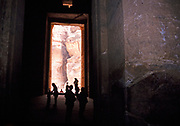 Inside the The Treasury building at the archaeological site at Petra, Jordan in 1998