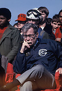 Secretary of Defense Harold Brown watches an event on a visit of President Carter to the Carrier Dwight Eisenhower in  March 1978<br /> Photo by Dennis Brack