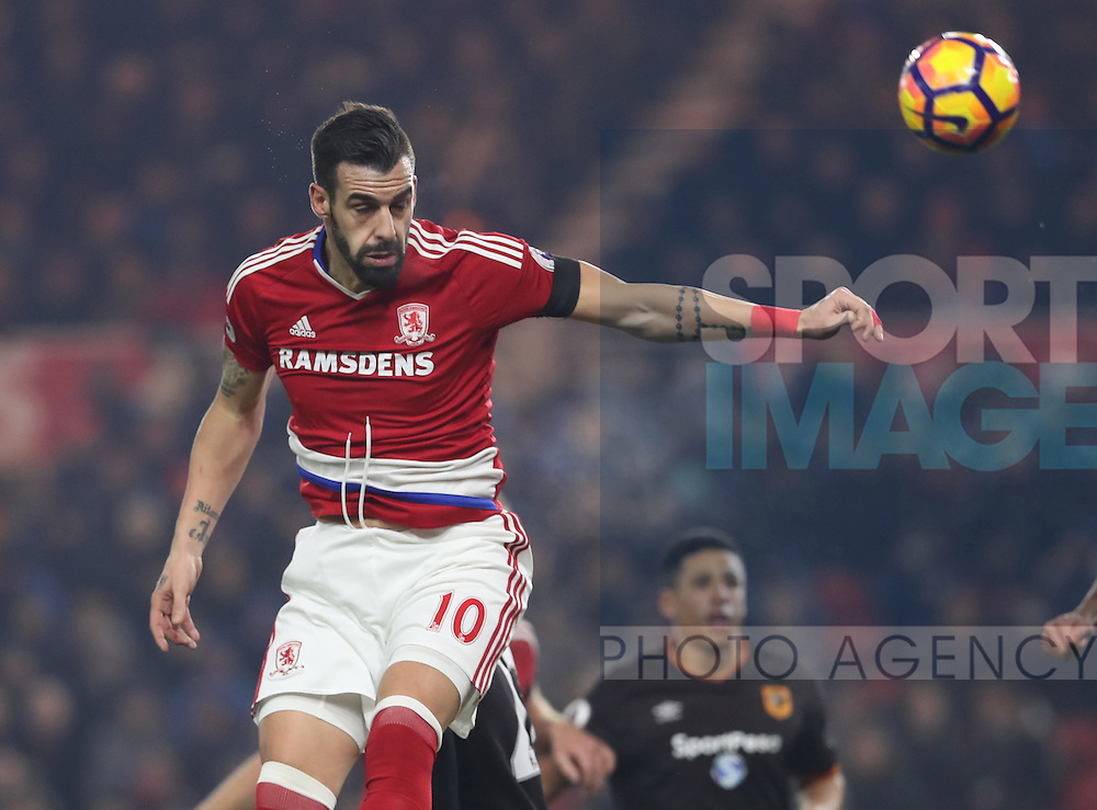 Alvaro Negredo of Middlesbrough heads the ball towards goal during the English Premier League match at Riverside Stadium, Middlesbrough. Picture date: December 5th, 2016. Pic Jamie Tyerman/Sportimage