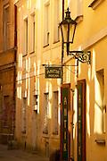 Czeck Republic - Prague, Antik Mucha shop front near the old town square.