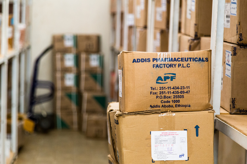 INDIVIDUAL(S) PHOTOGRAPHED: N/A. LOCATION: Felege Hiwot Referral Hospital, Bahir Dar, Ethiopia. CAPTION: Medicines packed and waiting to be given out are kept at the pharmacy store.