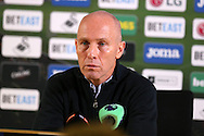 Bob Bradley , the Swansea city manager speaks to the press during his post match press conference. Premier league match, Swansea city v West Ham United at the Liberty Stadium in Swansea, South Wales on Boxing Day, Monday 26th December 2016.<br /> pic by  Andrew Orchard, Andrew Orchard sports photography.