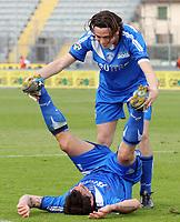 """Esultanza di Luca Saudati (Empoli) dopo il gol con Nicola Pozzi<br /> Luca Saudati (Empoli) celebrates with teammate Nicola Pozzi after scoring goal<br /> Italian """"Serie A"""" 2006-07 <br /> 01 Apr 2007 (Match Day 30)<br /> Empoli-Ascoli (4-1)<br /> """"Castellani"""" Stadium-Empoli-Italy<br /> Photographer Luca Pagliaricci INSIDE"""