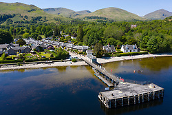 Aerial view of popular tourist village of Luss beside Loch Lomond in Argyll and Bute, Scotland, UK
