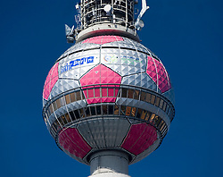 Detail of sphere at top of Television Tower in Berlin during the 2006 soccer World Cup tournament