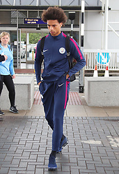 Leroy Sane as the Manchester City team arrive at Manchester Airport as they jet for Iceland
