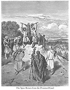The Spies return from the Promised Land or Return of the Spies from the Land of Promise Numbers 13:27 From the book 'Bible Gallery' Illustrated by Gustave Dore with Memoir of Dore and Descriptive Letter-press by Talbot W. Chambers D.D. Published by Cassell & Company Limited in London and simultaneously by Mame in Tours, France in 1866