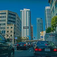 A rush hour traffic jam clogs Harrison Street near the Bay Bridge in downtown San Franciscod, California.