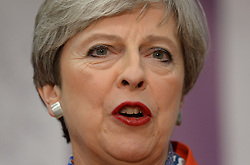 Prime Minister Theresa May speaks at the Magnet Leisure Centre in Maidenhead, after she held her seat.