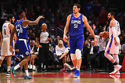 October 19, 2018 - Los Angeles, CA, U.S. - LOS ANGELES, CA - OCTOBER 19: Los Angeles Clippers Center Boban Marjanovic (51) reacts to scoring a basket and was fouled during a NBA game between the Oklahoma City Thunder and the Los Angeles Clippers on October 19, 2018 at STAPLES Center in Los Angeles, CA. (Credit Image: © Brian Rothmuller/Icon SMI via ZUMA Press)