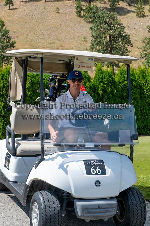KELOWNA, CANADA - JULY 21: Alumni Brett McLean drives a golf cart at the Kelowna Rockets Alumni golf tournament at Black Mountain Golf Club in Kelowna, British Columbia, Canada.  (Photo by Marissa Baecker/Shoot the Breeze)  *** Local Caption ***