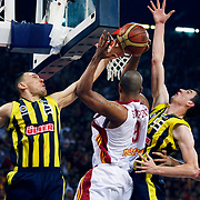Fenerbahce Ulker's Sarunas JASIKEVICIUS (L) and  Emir PRELDZIC (R) during their Turkish Basketball league Play Off Final Sixth leg match Galatasaray between Fenerbahce Ulker at the Abdi Ipekci Arena in Istanbul Turkey on Friday 17 June 2011. Photo by TURKPIX
