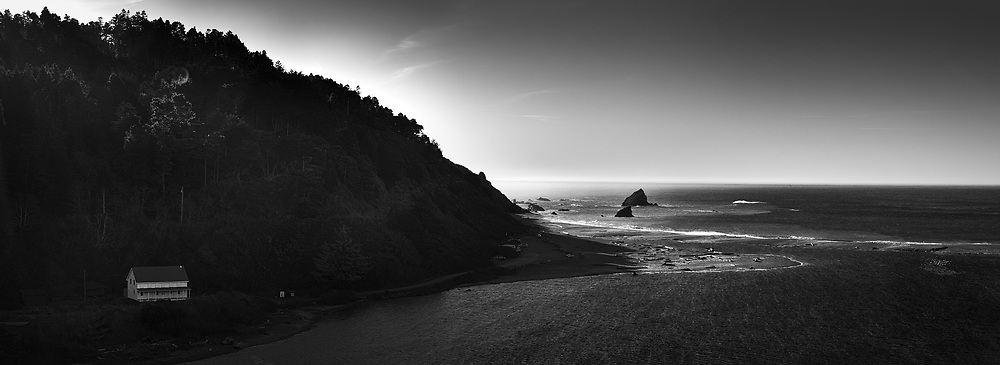 The mouth of the Navarro River is seen from a turnoff along Route 128 in Mendocino County, CA
