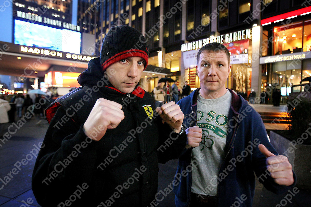 """Mark and James Clancy outside Madison Square Garden before the Irish Ropes """"Erin Go Brawl """" at Madison Square Garden, New York on Friday night.<br /> Photograph by Eamon Ward"""