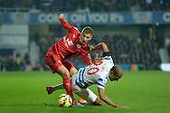 Karl Henry of Queens Park Rangers holding the ball from Marc Albrighton of Leicester City. Barclays Premier league match, Queens Park Rangers v Leicester city at Loftus Road in London on Saturday 29th November 2014.<br /> pic by John Patrick Fletcher, Andrew Orchard sports photography.