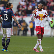 Jermaine Jones, (left), New England Revolution, and Thierry Henry, New York Red Bulls, during the New York Red Bulls Vs New England Revolution, MLS Eastern Conference Final, first leg at Red Bull Arena, Harrison, New Jersey. USA. 23rd November 2014. Photo Tim Clayton
