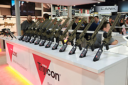 Firearms on display in the main exhibit hall at the 2017 NRA Annual Meetings and Exhibits in Atlanta