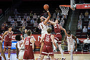 Southern California Trojans forward Isaiah Mobley (3) is defended by Stanford Cardinal forward Max Murrell (10) during an NCAA men's basketball game, Wednesday, March 3, 2021, in Los Angeles. USC defeated Stanford 79-42. (Jon Endow/Image of Sport)