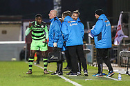 Forest Green Rovers Dale Bennett(6) gets instructions from Forest Green Rovers manager, Mark Cooper during the Vanarama National League first leg play off match between Dagenham and Redbridge and Forest Green Rovers at the London Borough of Barking and Dagenham Stadium, London, England on 4 May 2017. Photo by Shane Healey.
