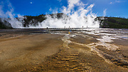 Visitors on the boardwalk at Grand Prismatic Spring, Yellowstone National Park, Wyoming USA