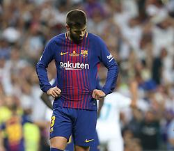 August 17, 2017 - Madrid, Spain - Gerard Pique of FC Barcelona reacts during the Supercopa de Espana Final 2nd Leg match between Real Madrid and FC Barcelona at Estadio Santiago Bernabeu on August 16, 2017 in Madrid, Spain. (Credit Image: © Raddad Jebarah/NurPhoto via ZUMA Press)