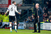 Derby County Manager Steve McClaren  sees the funny side with Derby County defender Richard Keogh (6)  during the EFL Sky Bet Championship match between Derby County and Birmingham City at the iPro Stadium, Derby, England on 27 December 2016. Photo by Simon Davies.