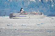 Cruise ship in ice floe In The Wrangell St Elias National Park,