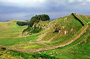Cuddy's crag Hadrian s Wall near Housesteads roman fort Nothumberland England UK