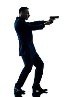 one caucasian man with a handgun silhouette isolated on white background