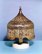 Iron helmet with calligraphic silver damascening decoration. Turkish (Mamluk) 15th century