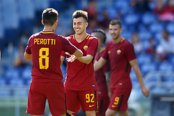 September 23, 2017 - Rome, Italy - Stephan El Shaarawy with Diego Perotti of Roma  celebrating during the Italian Serie A football match between AS Roma and Udinese on September 23, 2017 at the Olympic stadium in Rome. (Credit Image: © Matteo Ciambelli/NurPhoto via ZUMA Press)