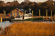 A fishing boat docked in Shem Creek, Mt Pleasant, SC across the harbor from Charleston.