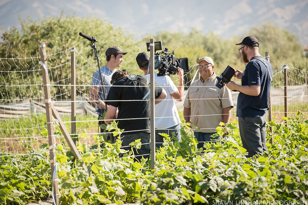 Juan Gonzales being filmed by the Farm League film crew for a documentary about organic farming for Clif Bar.